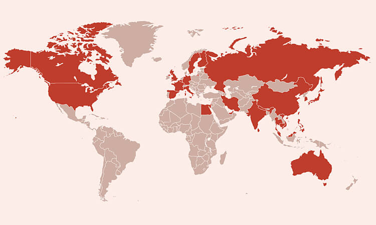 Các nước có bệnh nhân nhiễm
